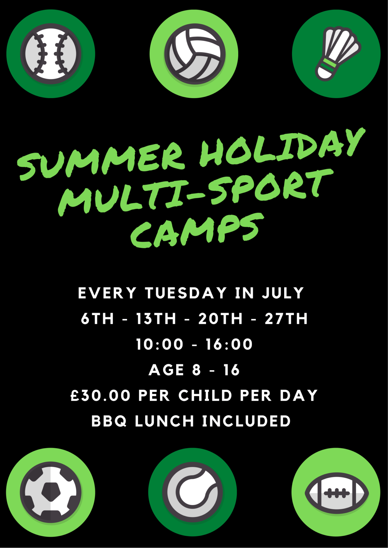 NEW Summer Multi Sport Day Camps